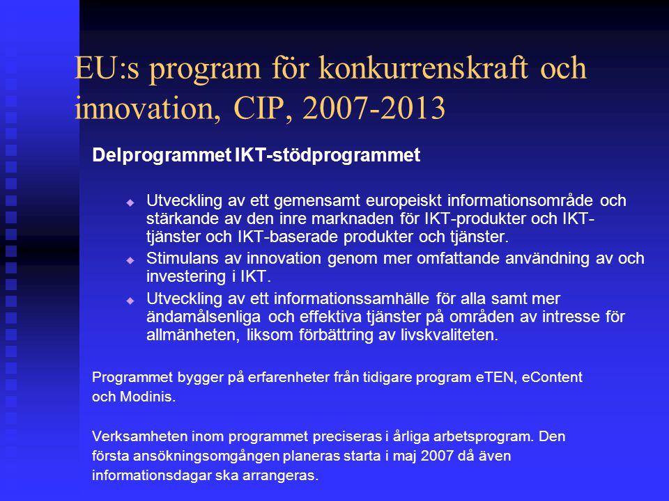 EU:s program för konkurrenskraft och innovation, CIP, 2007-2013 Delprogrammet IKT-stödprogrammet   Utveckling av ett gemensamt europeiskt informationsområde och stärkande av den inre marknaden för IKT-produkter och IKT- tjänster och IKT-baserade produkter och tjänster.