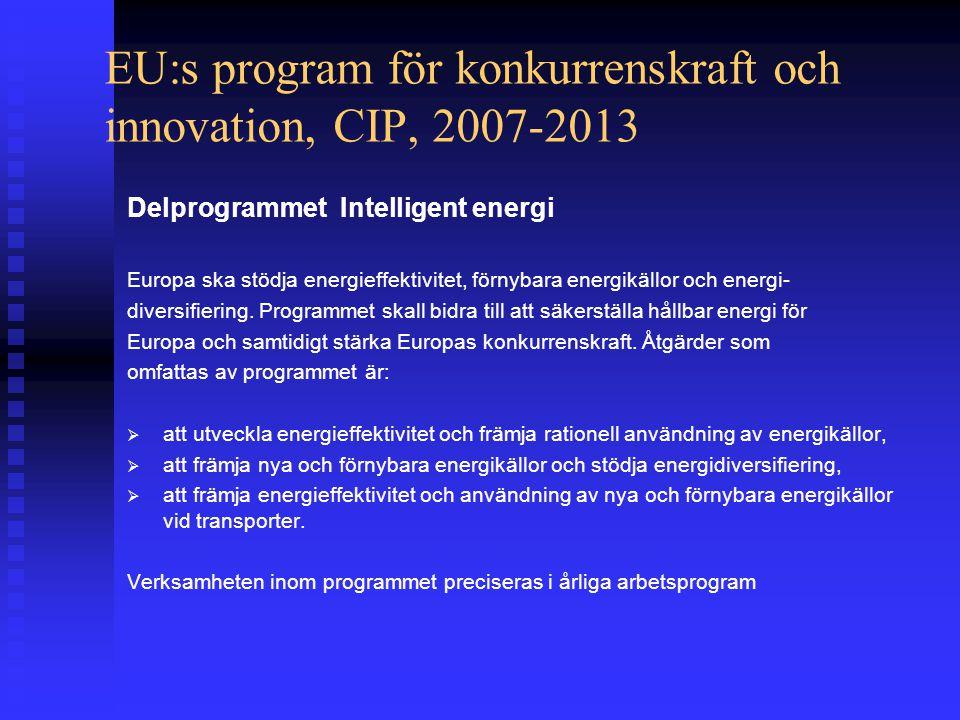 EU:s program för konkurrenskraft och innovation, CIP, 2007-2013 Delprogrammet Intelligent energi Europa ska stödja energieffektivitet, förnybara energikällor och energi- diversifiering.