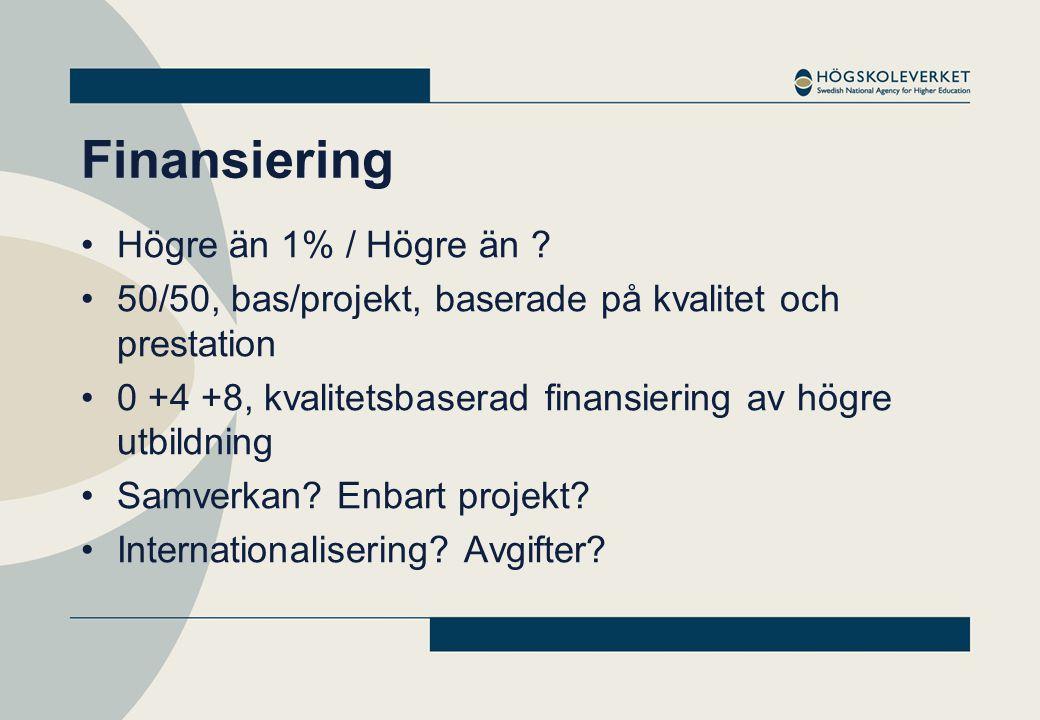 Finansiering •Högre än 1% / Högre än ? •50/50, bas/projekt, baserade på kvalitet och prestation •0 +4 +8, kvalitetsbaserad finansiering av högre utbil