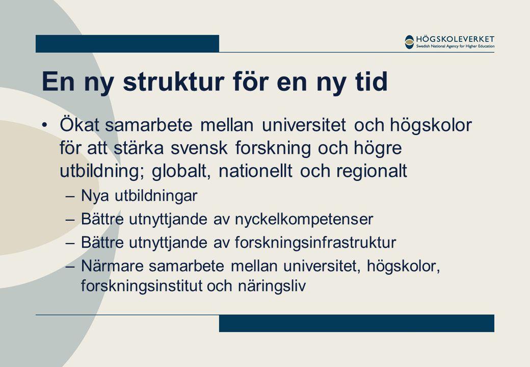 En ny struktur för en ny tid •Ökat samarbete mellan universitet och högskolor för att stärka svensk forskning och högre utbildning; globalt, nationell