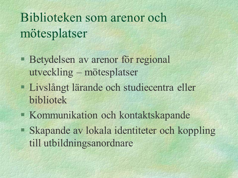 Biblioteken som arenor och mötesplatser §Betydelsen av arenor för regional utveckling – mötesplatser §Livslångt lärande och studiecentra eller bibliot