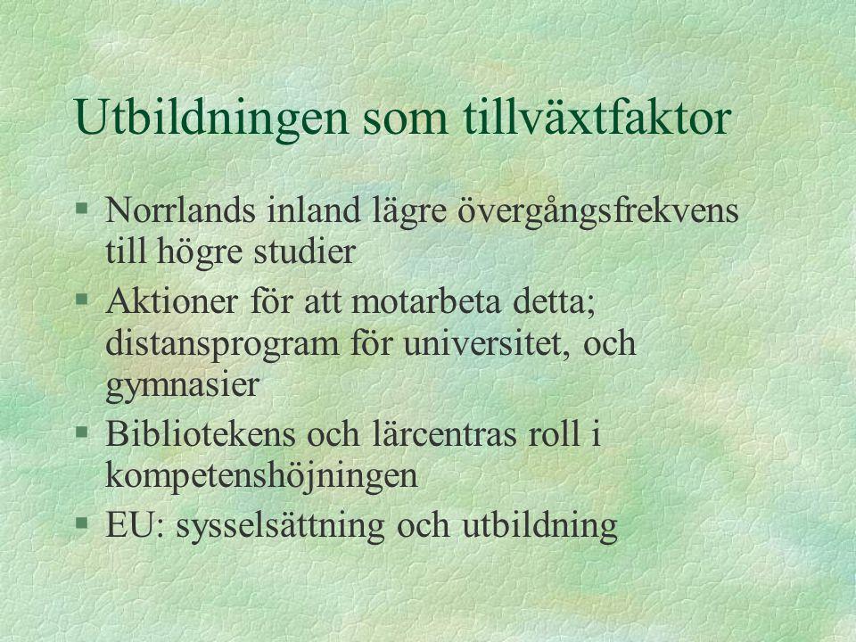 Utbildningen som tillväxtfaktor §Norrlands inland lägre övergångsfrekvens till högre studier §Aktioner för att motarbeta detta; distansprogram för uni