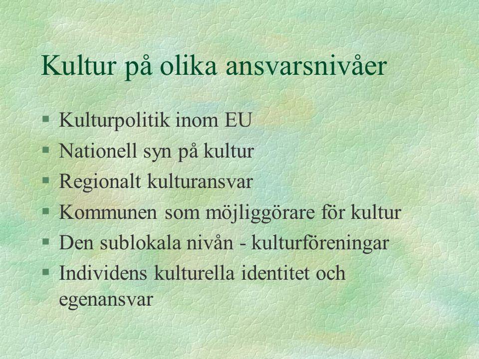 Kultur på olika ansvarsnivåer §Kulturpolitik inom EU §Nationell syn på kultur §Regionalt kulturansvar §Kommunen som möjliggörare för kultur §Den sublokala nivån - kulturföreningar §Individens kulturella identitet och egenansvar