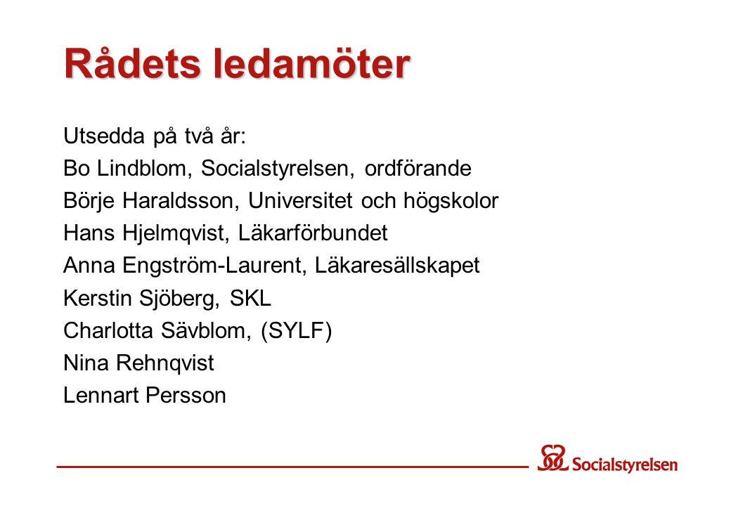 Rådets ledamöter Utsedda på två år: Bo Lindblom, Socialstyrelsen, ordförande Börje Haraldsson, Universitet och högskolor Hans Hjelmqvist, Läkarförbund