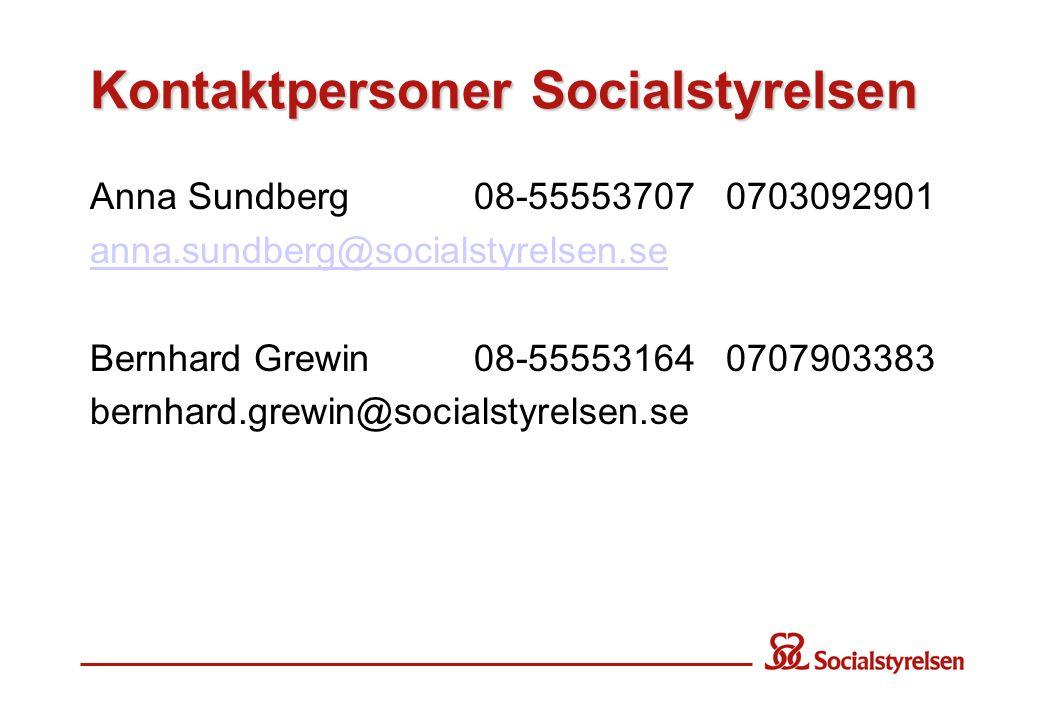 Kontaktpersoner Socialstyrelsen Anna Sundberg 08-55553707 0703092901 anna.sundberg@socialstyrelsen.se Bernhard Grewin08-55553164 0707903383 bernhard.g