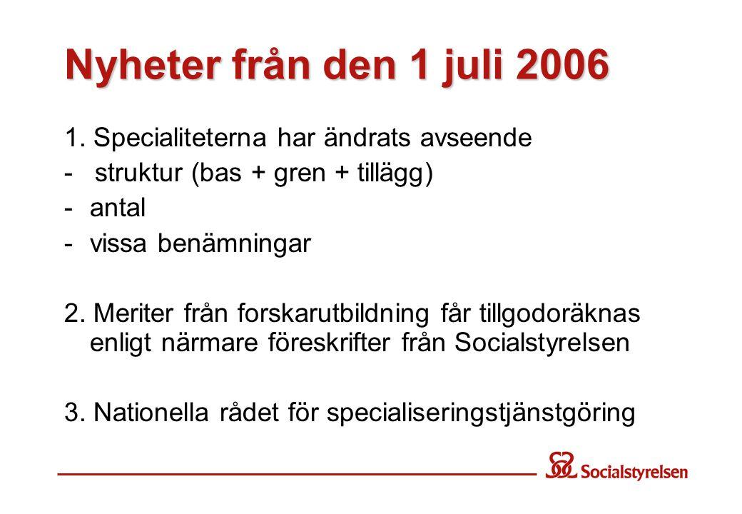 Nyheter från den 1 juli 2006 1. Specialiteterna har ändrats avseende - struktur (bas + gren + tillägg) -antal - vissa benämningar 2. Meriter från fors