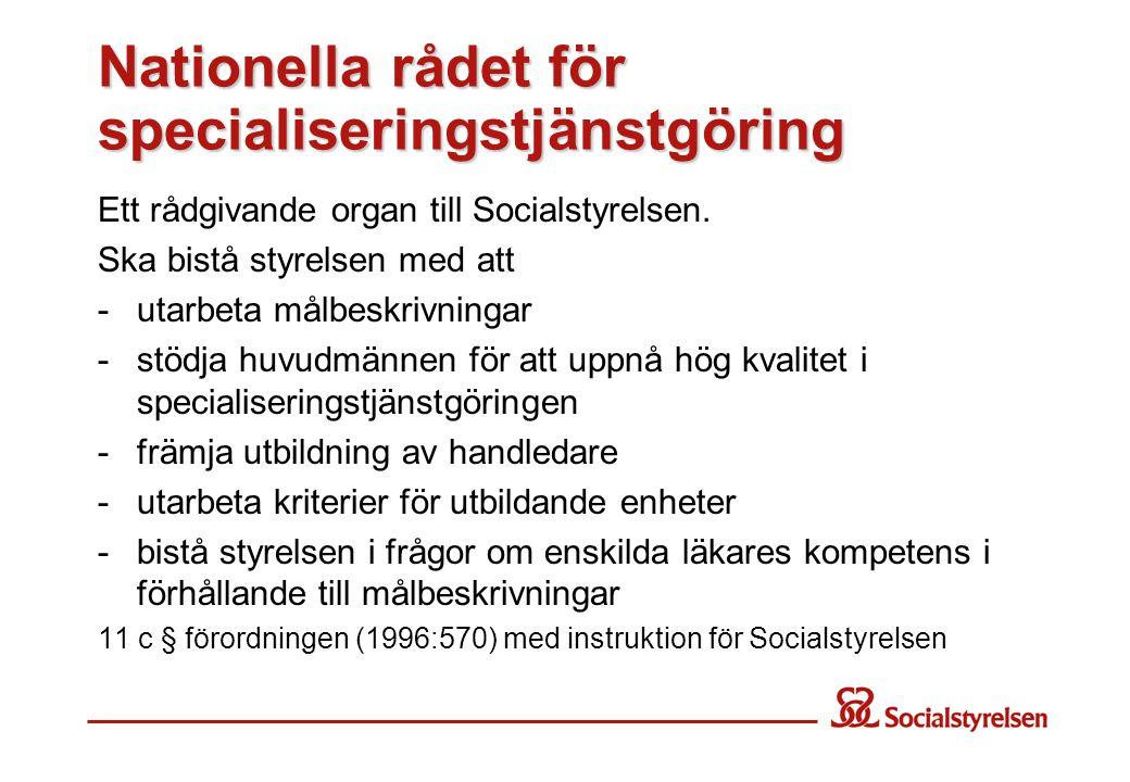 Nationella rådet för specialiseringstjänstgöring Ett rådgivande organ till Socialstyrelsen. Ska bistå styrelsen med att -utarbeta målbeskrivningar -st