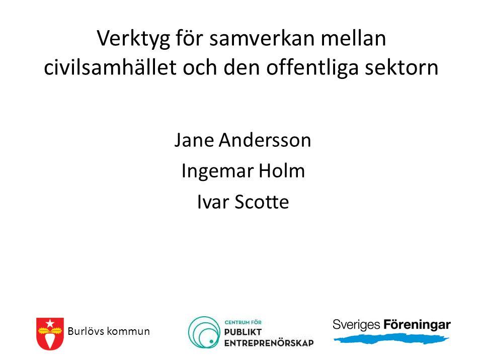 Verktyg för samverkan mellan civilsamhället och den offentliga sektorn Jane Andersson Ingemar Holm Ivar Scotte Burlövs kommun