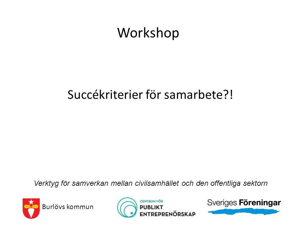 Workshop Succékriterier för samarbete?! Burlövs kommun Verktyg för samverkan mellan civilsamhället och den offentliga sektorn