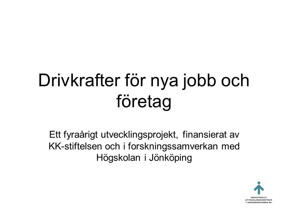 Drivkrafter för nya jobb och företag Ett fyraårigt utvecklingsprojekt, finansierat av KK-stiftelsen och i forskningssamverkan med Högskolan i Jönköping