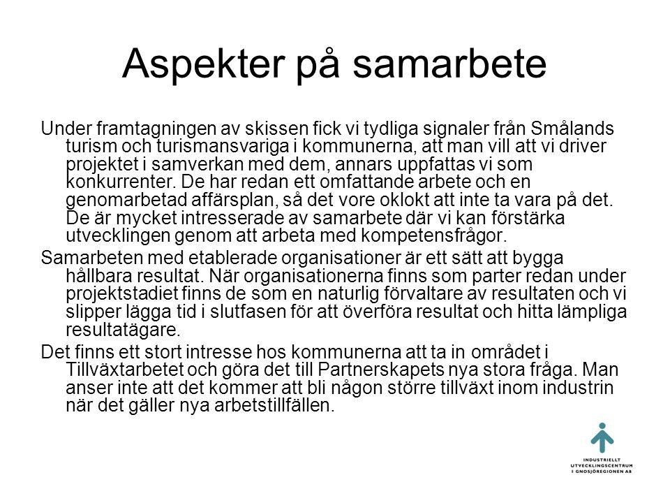 Aspekter på samarbete Under framtagningen av skissen fick vi tydliga signaler från Smålands turism och turismansvariga i kommunerna, att man vill att vi driver projektet i samverkan med dem, annars uppfattas vi som konkurrenter.