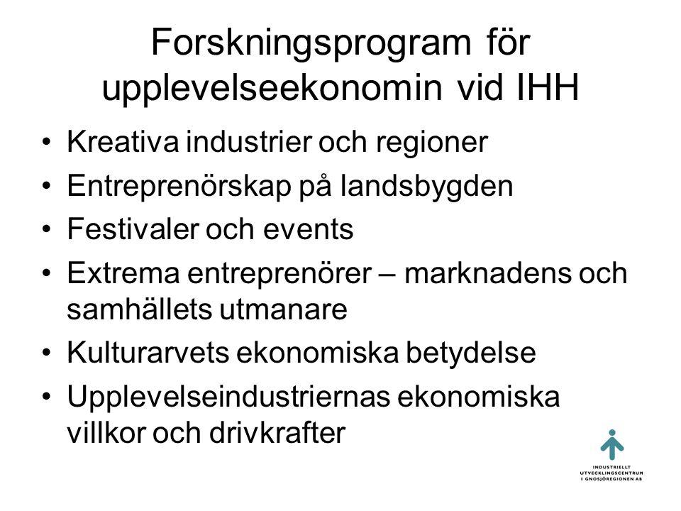 Forskningsprogram för upplevelseekonomin vid IHH •Kreativa industrier och regioner •Entreprenörskap på landsbygden •Festivaler och events •Extrema entreprenörer – marknadens och samhällets utmanare •Kulturarvets ekonomiska betydelse •Upplevelseindustriernas ekonomiska villkor och drivkrafter