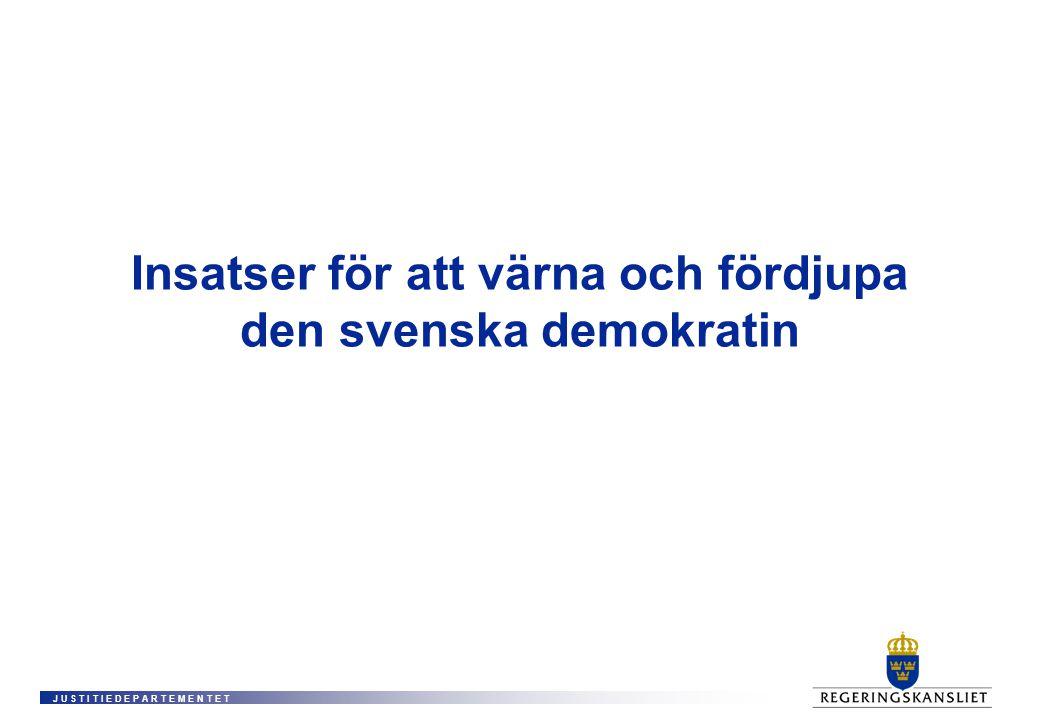 J U S T I T I E D E P A R T E M E N T E T Insatser för att värna och fördjupa den svenska demokratin