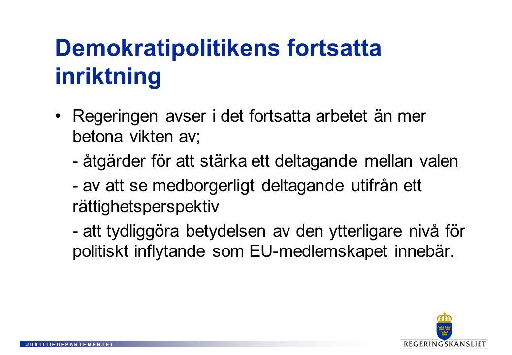 J U S T I T I E D E P A R T E M E N T E T Demokratipolitikens fortsatta inriktning •Regeringen avser i det fortsatta arbetet än mer betona vikten av; - åtgärder för att stärka ett deltagande mellan valen - av att se medborgerligt deltagande utifrån ett rättighetsperspektiv - att tydliggöra betydelsen av den ytterligare nivå för politiskt inflytande som EU-medlemskapet innebär.