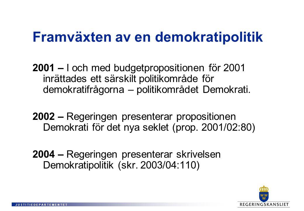 J U S T I T I E D E P A R T E M E N T E T Framväxten av en demokratipolitik 2001 – I och med budgetpropositionen för 2001 inrättades ett särskilt politikområde för demokratifrågorna – politikområdet Demokrati.