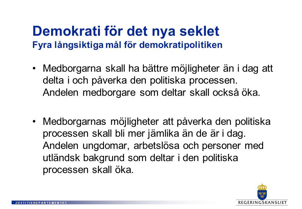 J U S T I T I E D E P A R T E M E N T E T Demokrati för det nya seklet Fyra långsiktiga mål för demokratipolitiken • Medborgarna skall ha bättre möjligheter än i dag att delta i och påverka den politiska processen.
