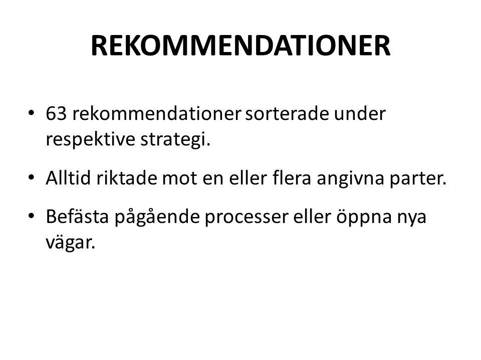 REKOMMENDATIONER • 63 rekommendationer sorterade under respektive strategi.
