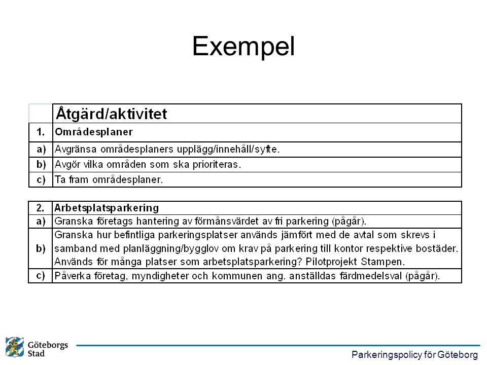 Parkeringspolicy för Göteborg Exempel
