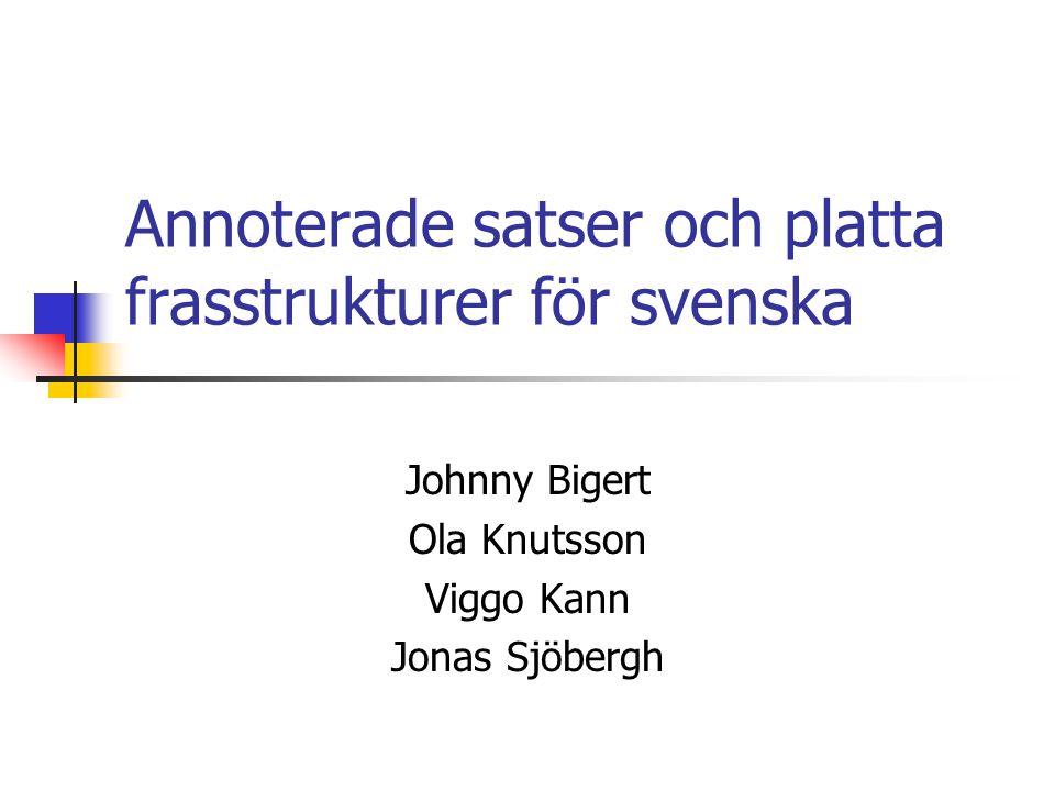 Bygge av svensk trädbank  SUC - korrekt, tillgängligt, balanserat  Majoritetsröstning med befintliga verktyg för frasstrukturer - halvautomatik  Manuell annotering / manuell rättning?