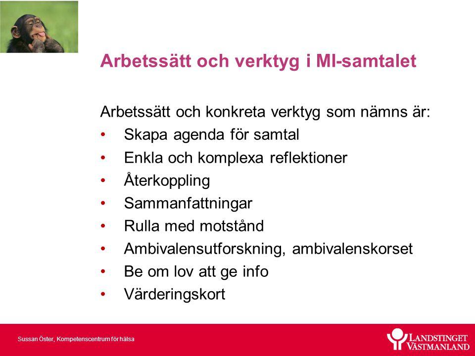 Sussan Öster, Kompetenscentrum för hälsa Arbetssätt och verktyg i MI-samtalet Arbetssätt och konkreta verktyg som nämns är: •Skapa agenda för samtal •
