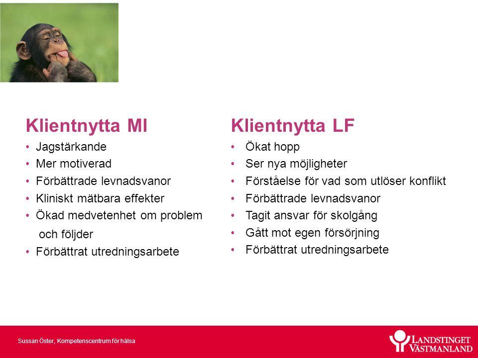 Sussan Öster, Kompetenscentrum för hälsa Klientnytta MI • Jagstärkande • Mer motiverad • Förbättrade levnadsvanor • Kliniskt mätbara effekter • Ökad m