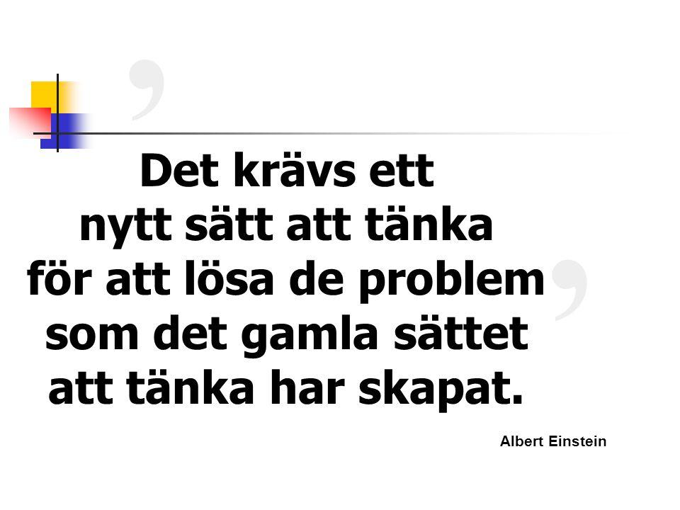 Det krävs ett nytt sätt att tänka för att lösa de problem som det gamla sättet att tänka har skapat. ' ' Albert Einstein