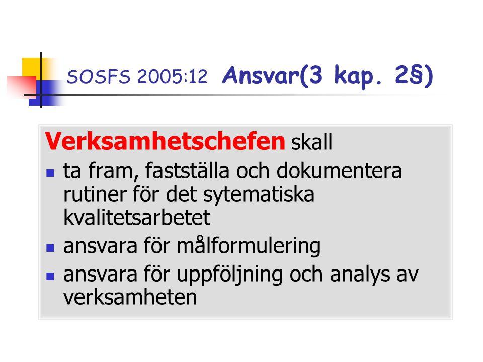 SOSFS 2005:12 Ansvar(3 kap. 2§) Verksamhetschefen skall  ta fram, fastställa och dokumentera rutiner för det sytematiska kvalitetsarbetet  ansvara f