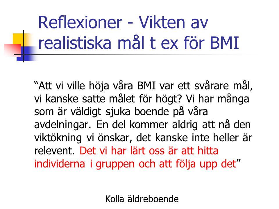 """Reflexioner - Vikten av realistiska mål t ex för BMI """"Att vi ville höja våra BMI var ett svårare mål, vi kanske satte målet för högt? Vi har många som"""