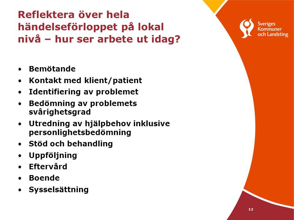 12 Reflektera över hela händelseförloppet på lokal nivå – hur ser arbete ut idag? •Bemötande •Kontakt med klient/patient •Identifiering av problemet •