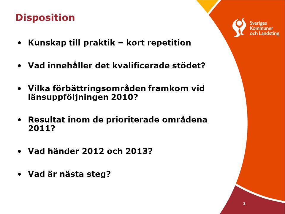 23 Vad händer 2012 och 2013 •De 8 sista länen får ekonomiskt stöd 2012 till processledare •Alla processledare bjuds in •Modeller för lokal uppföljning implementeras 2012 och 2013 •Fokus på de prioriterade områdena * Green m.fl (2006) •er20