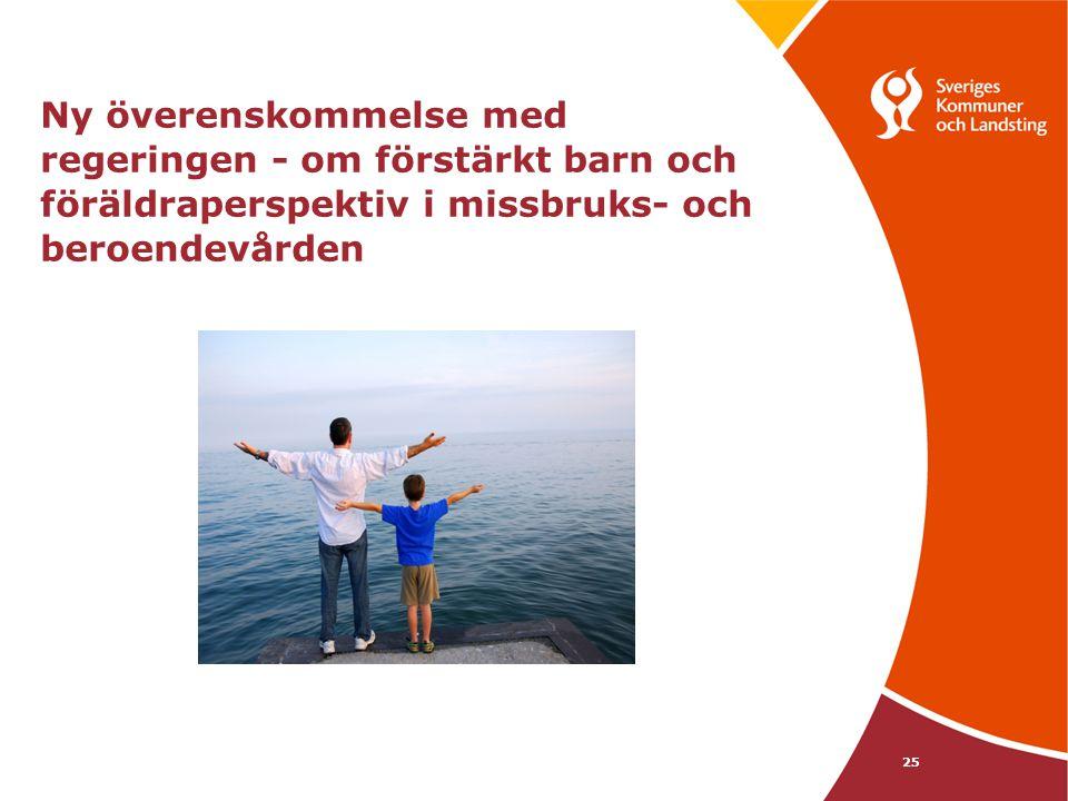 25 Ny överenskommelse med regeringen - om förstärkt barn och föräldraperspektiv i missbruks- och beroendevården