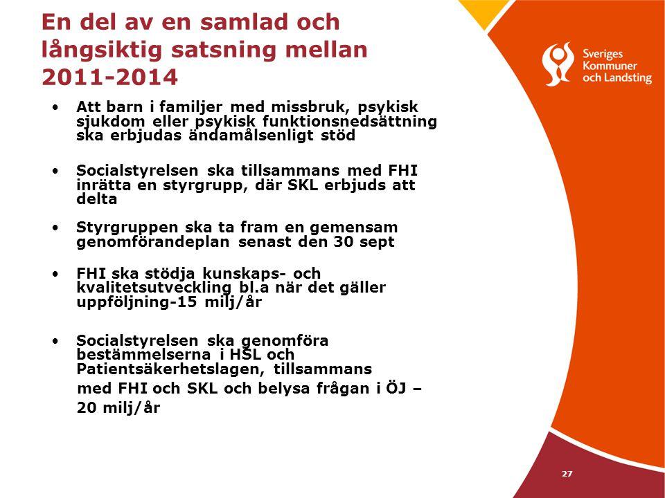 27 En del av en samlad och långsiktig satsning mellan 2011-2014 •Att barn i familjer med missbruk, psykisk sjukdom eller psykisk funktionsnedsättning