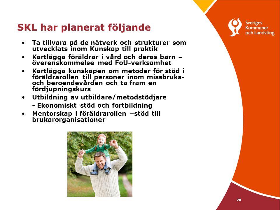 28 SKL har planerat följande •Ta tillvara på de nätverk och strukturer som utvecklats inom Kunskap till praktik •Kartlägga föräldrar i vård och deras