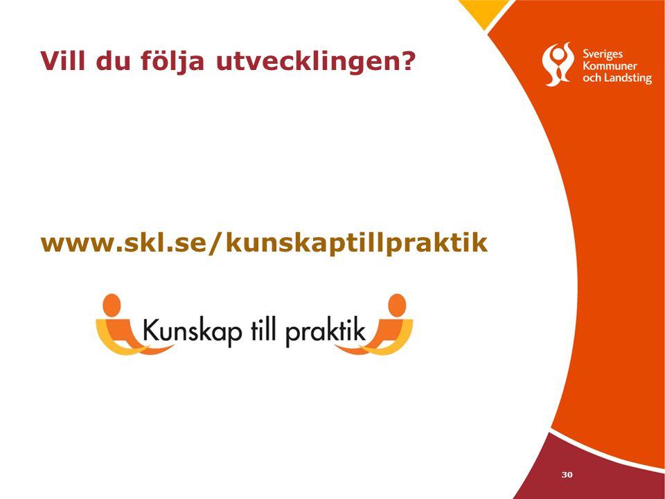 30 Vill du följa utvecklingen? www.skl.se/kunskaptillpraktik