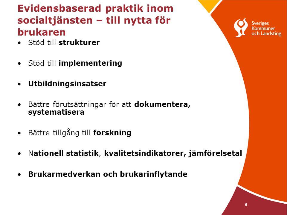 6 Evidensbaserad praktik inom socialtjänsten – till nytta för brukaren •Stöd till strukturer •Stöd till implementering •Utbildningsinsatser •Bättre fö