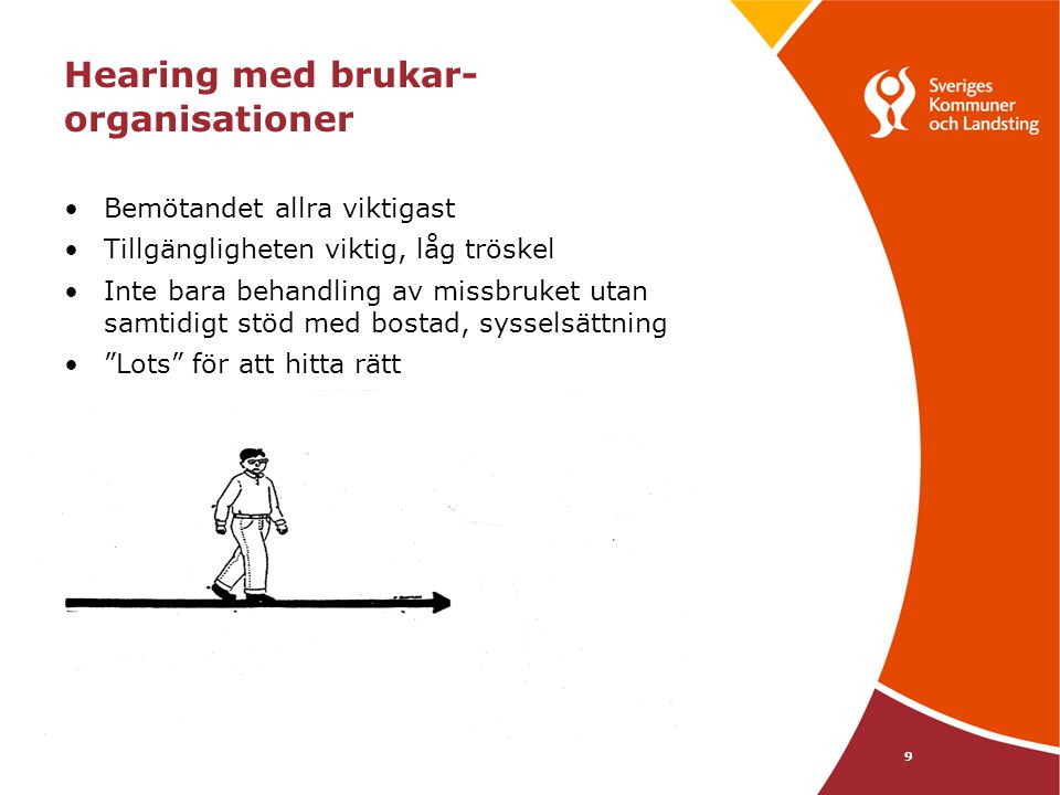 9 Hearing med brukar- organisationer •Bemötandet allra viktigast •Tillgängligheten viktig, låg tröskel •Inte bara behandling av missbruket utan samtid