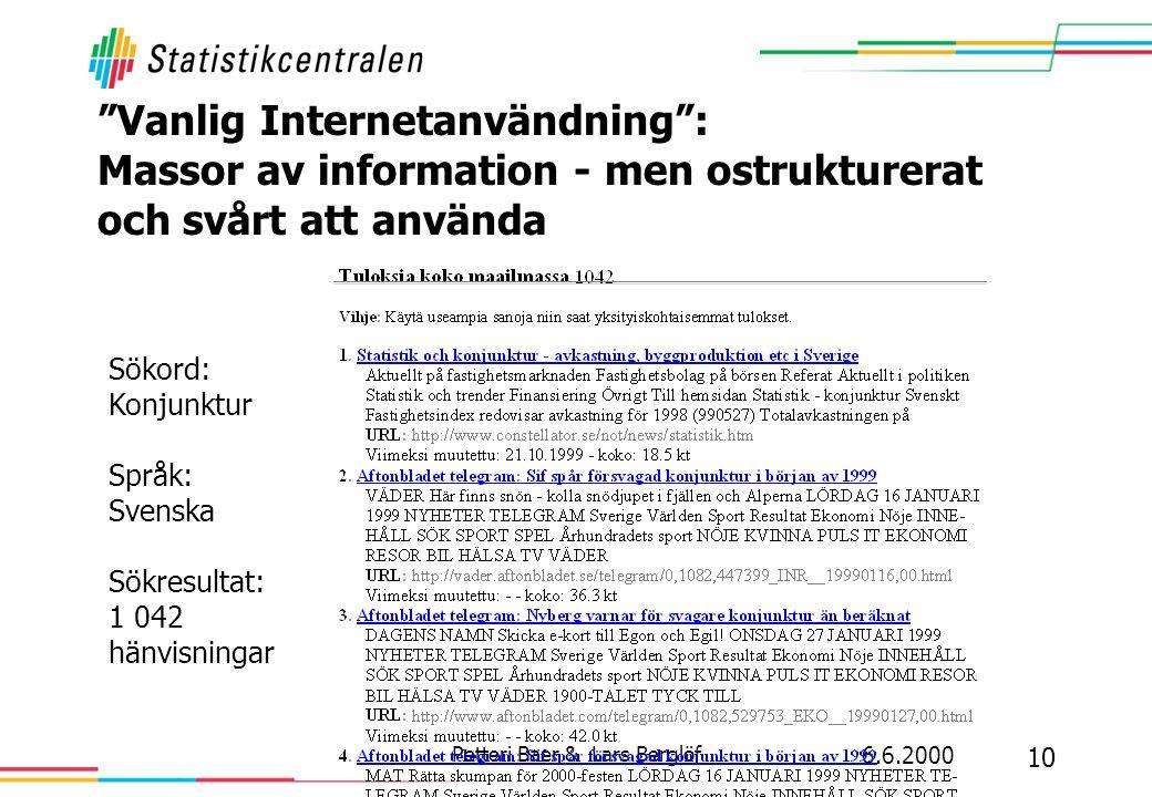6.6.2000 10 Petteri Baer & Lars Berglöf Vanlig Internetanvändning : Massor av information - men ostrukturerat och svårt att använda Sökord: Konjunktur Språk: Svenska Sökresultat: 1 042 hänvisningar