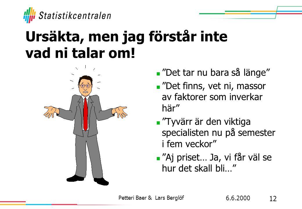 """6.6.2000 12 Petteri Baer & Lars Berglöf Ursäkta, men jag förstår inte vad ni talar om!  """"Det tar nu bara så länge""""  """"Det finns, vet ni, massor av fa"""