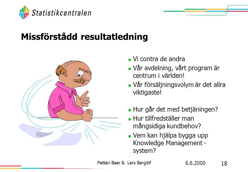 6.6.2000 18 Petteri Baer & Lars Berglöf Missförstådd resultatledning  Vi contra de andra  Vår avdelning, vårt program är centrum i världen!  Vår fö