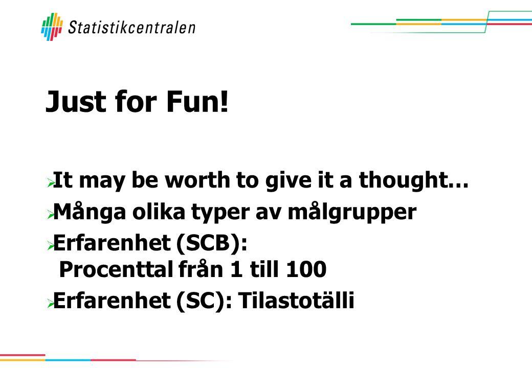 Just for Fun!  It may be worth to give it a thought…  Många olika typer av målgrupper  Erfarenhet (SCB): Procenttal från 1 till 100  Erfarenhet (S