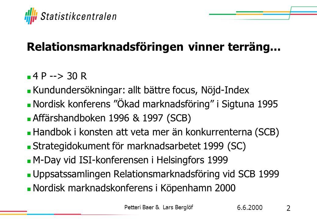 6.6.2000 2 Petteri Baer & Lars Berglöf Relationsmarknadsföringen vinner terräng...  4 P --> 30 R  Kundundersökningar: allt bättre focus, Nöjd-Index