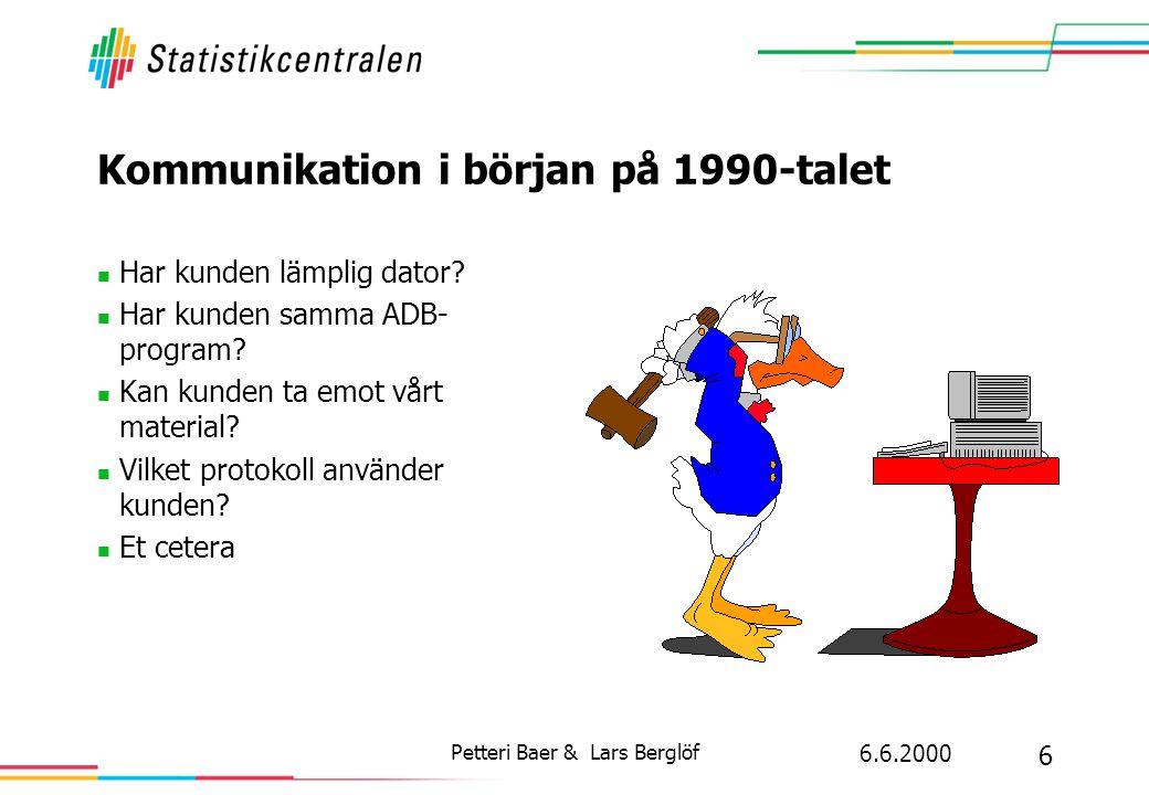 6.6.2000 6 Petteri Baer & Lars Berglöf Kommunikation i början på 1990-talet  Har kunden lämplig dator?  Har kunden samma ADB- program?  Kan kunden