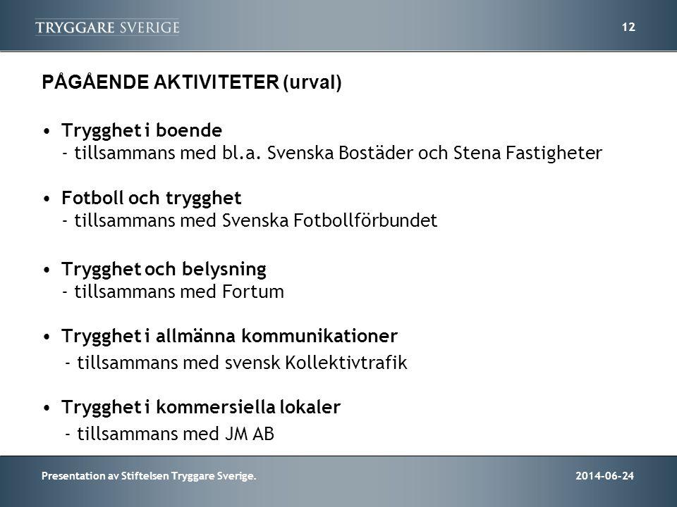 2014-06-24Presentation av Stiftelsen Tryggare Sverige. 12 PÅGÅENDE AKTIVITETER (urval) •Trygghet i boende - tillsammans med bl.a. Svenska Bostäder och