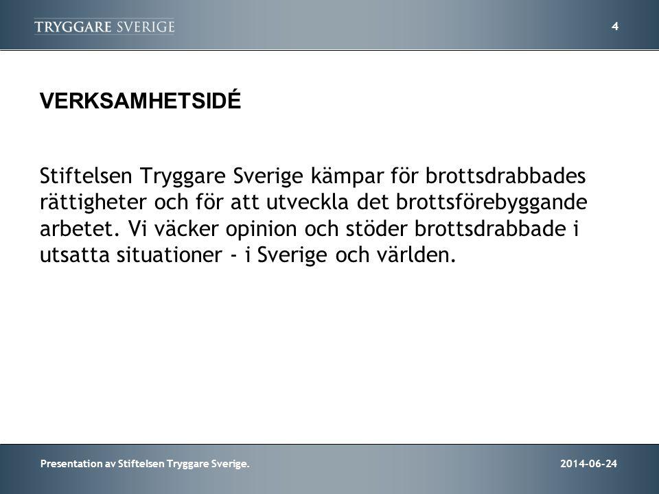 2014-06-24Presentation av Stiftelsen Tryggare Sverige. 4 VERKSAMHETSIDÉ Stiftelsen Tryggare Sverige kämpar för brottsdrabbades rättigheter och för att