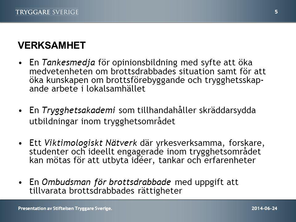 2014-06-24Presentation av Stiftelsen Tryggare Sverige. 5 VERKSAMHET •En Tankesmedja för opinionsbildning med syfte att öka medvetenheten om brottsdrab