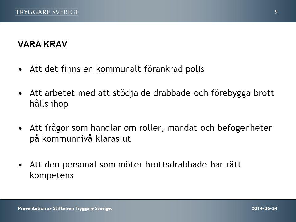 2014-06-24Presentation av Stiftelsen Tryggare Sverige. 9 VÅRA KRAV •Att det finns en kommunalt förankrad polis •Att arbetet med att stödja de drabbade