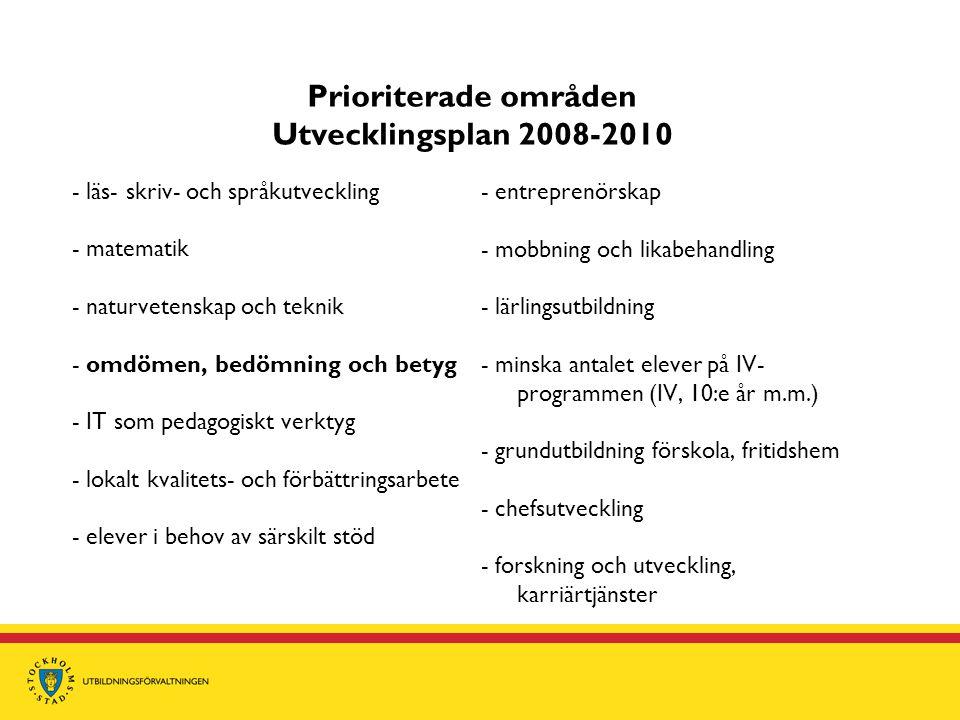 Prioriterade områden Utvecklingsplan 2008-2010 - läs- skriv- och språkutveckling - matematik - naturvetenskap och teknik - omdömen, bedömning och bety