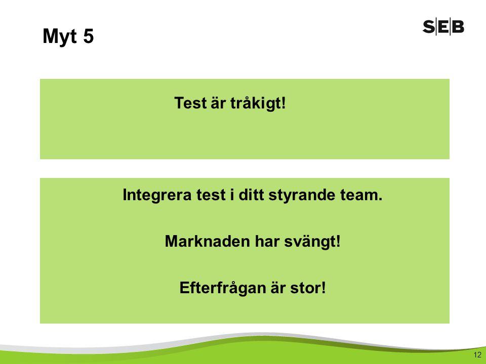 12 Myt 5 Test är tråkigt.Integrera test i ditt styrande team.
