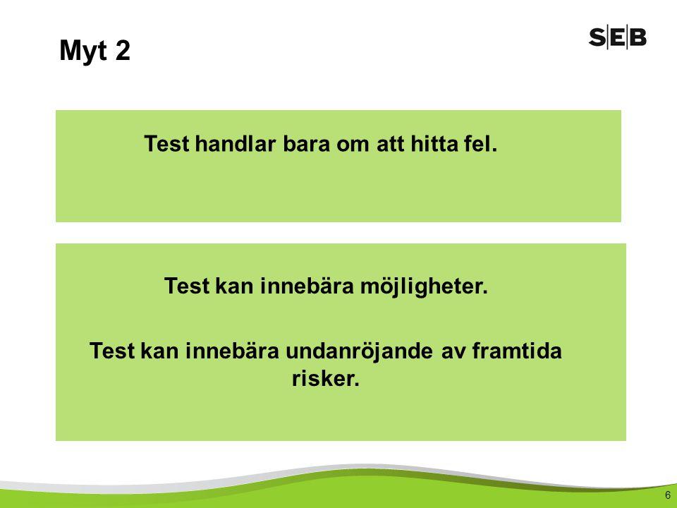 6 Myt 2 Test handlar bara om att hitta fel.Test kan innebära möjligheter.