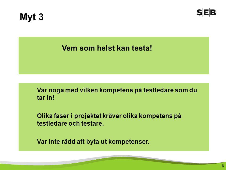 8 Myt 3 Vem som helst kan testa.Var noga med vilken kompetens på testledare som du tar in.